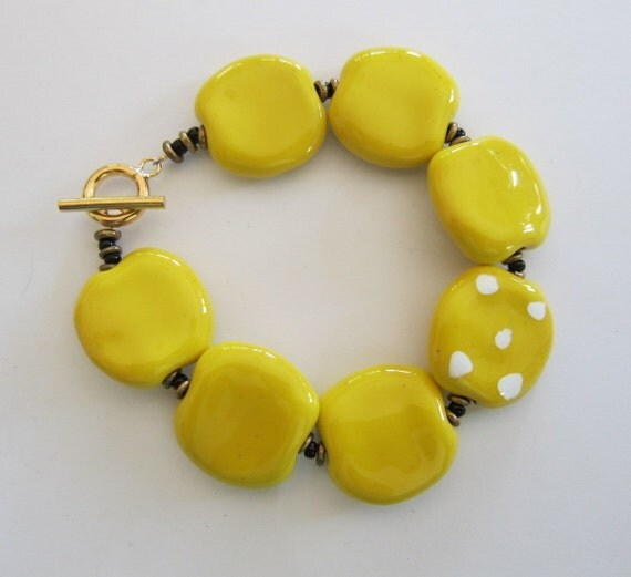 Yellow Kazuri Bead Bangle RESERVED FOR PAULA