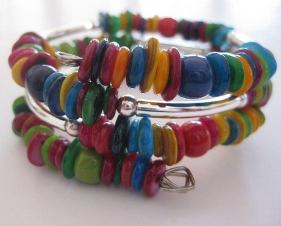 Memory Wire Jewelry, Multi Colored Bangle,