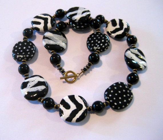 Beaded Necklace in Black and White Kazuri Beads