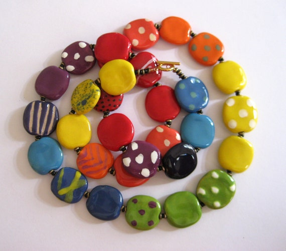 Beaded Necklace, Fair Trade Beads, Kazuri Necklace, Rainbow Colored