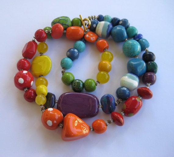 Beaded Necklace, Kazuri Beads, Semi Precious Stones, Fair Trade