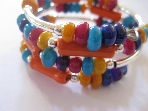 Memory Wire Jewelry, Multi Colored Bangle, Moth of Pearl Shell, Kazuri Bead