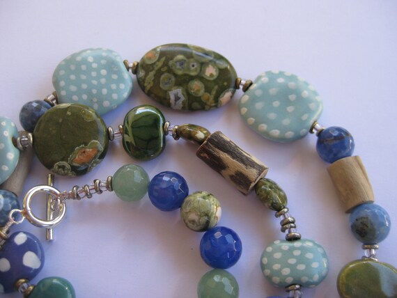 Driftwood Necklace, Beaded Necklace, Kazuri Beads, Semi Precious Stones