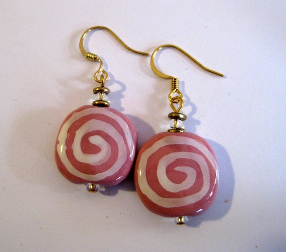 Kazuri Bead Earrings in Pink with White Pattern