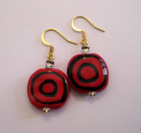 Kazuri Bead Earrings in Red and Black Pattern