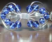 Handmade blue glass bead and sterling silver bracelet