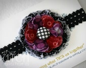 Crazy Daze... Blossoming Fabric Flower Headband (Infant Size)