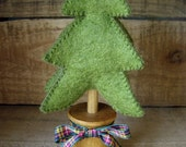 Green Felt Christmas Tree -  hand dyed natural wool felt, tartan checked ribbon, wooden trunk and base.