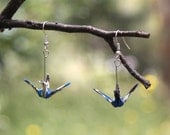 Origami Crane Earrings - Blue with dark blue, white, and gold flower details