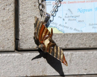Tiny Origami Pendant - Brown and Gold Striped Tsuru