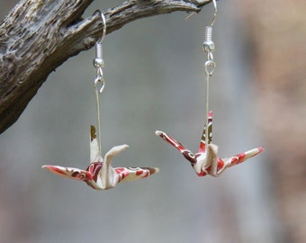 Origami Earrings - Traditional Crane - Ivory with Retro Pink and Brown Patterning