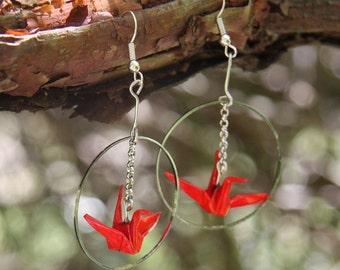 Origami Crane in Hoop Earrings - Red
