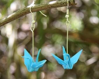 Origami Earrings - Bright Blue Cranes