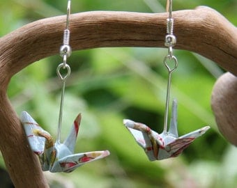 Origami Crane Earrings - Light Blue with Pastel Flowers