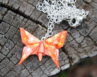 Origami Butterfly Pendant - Orange with Yellow Stars