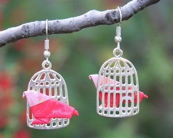 Origami Bird in a Birdcage Earrings - Pink with Floral