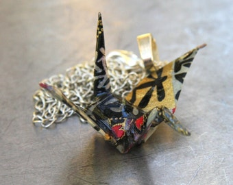 Origami Tsuru Crane Necklace Large - Black and Gold and Rainbow details