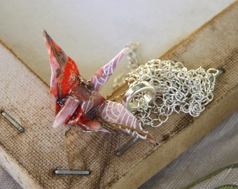 Origami Crane Pendant Large - Light Pink with Red Flowers
