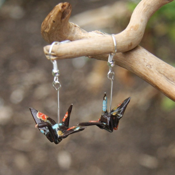 Origami Crane Earrings - Brown with Red, Blue, and Gold Flowers