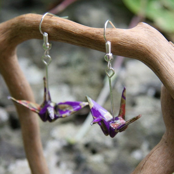Origami Crane Earrings - Purple with Red and Gold Flowers