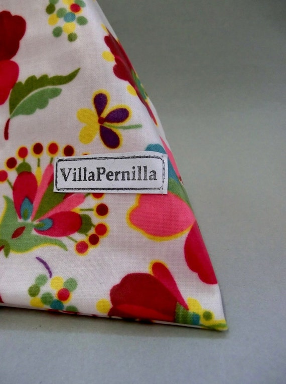 Wash bag for kids and light travelling- floral oilcloth fabric