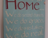 In Our Home - Whimsical Family Rules Sign - Typography Word Art  Pick Your Color