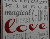 Valentines Day Typography Word Art- Large Distressed Sign in Weather Worn White