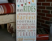 Fall Fun with Bunting Typography Word Art Hand Painted Sign - Limited Edition