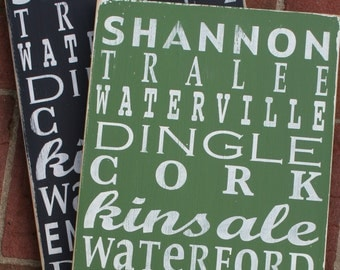 Ireland Subway Style Destination Sign - Typography Word Art - Perfect for St. Patrick's Day