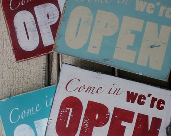 Distressed Open Sign - Pick Your Color