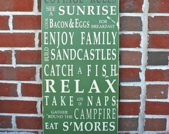 Cottage Rules Vintage Style Typography Word Art Sign Perfect For the Lake, Beach, Shore, Mountains