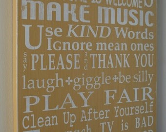 Playroom Rules Sign - Painted Wood Sign by Barn Owl Primitives Painted Word Art