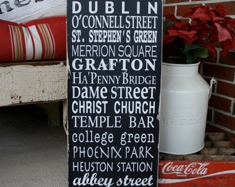 Dublin Ireland Subway Style Destination Sign - Typography Word Art - Perfect for St. Patrick's Day