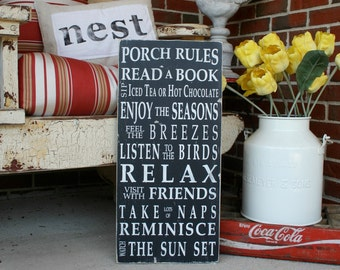 On Sale - Porch Rules Sign Wall Art Hand Painted Sign by Barn Owl Primitives