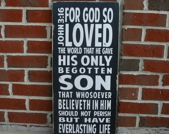 John 3:16 - Heavily Distressed Vintage Style Typography Word Art Sign