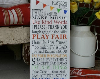 Playroom Rules Sign with Bunting - Typography Word Art in Rainbow on Weather Worn White
