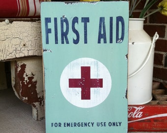 First Aid Heavily Distressed Vintage Style Sign