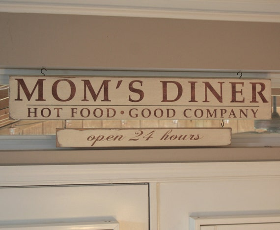 Moms Diner Open 24 hours Distressed Sign in Cream with Chocolate Brown Vintage Style - Large