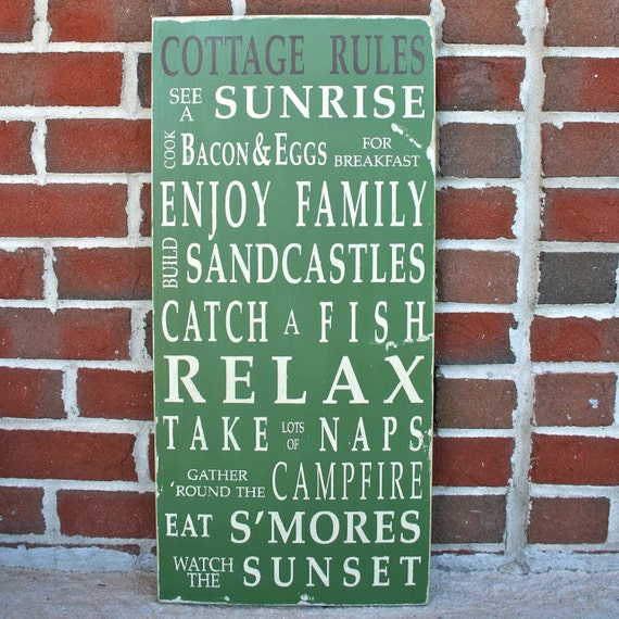 Cottage Rules Wooden Sign Vintage Style Typography Word Art Sign in Medium Green