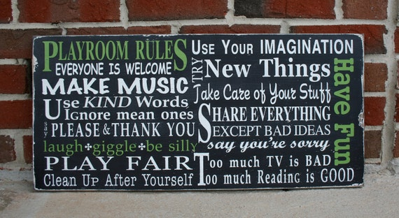 Playroom Rules Wooden Sign in Landscape - Typography Word Art Painted Wood Sign