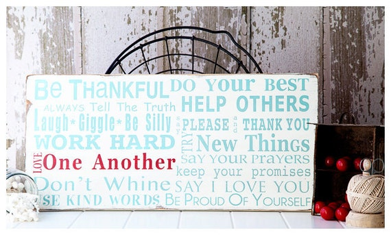 Wooden Sign Family Rules Sign - Family Rules Version III - Typography Wall Art in Landscape Hand Painted