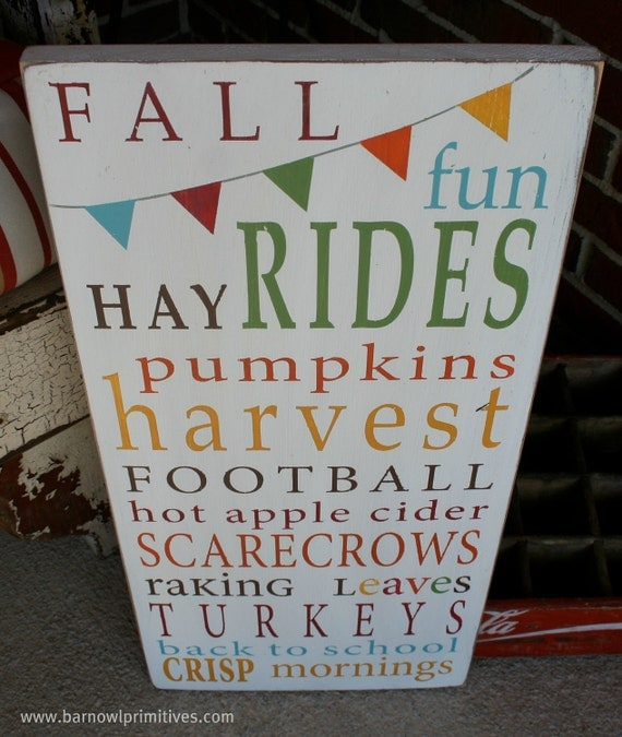 Fall Fun with Bunting Typography Word Art Hand Painted Wooden Sign - Limited Edition