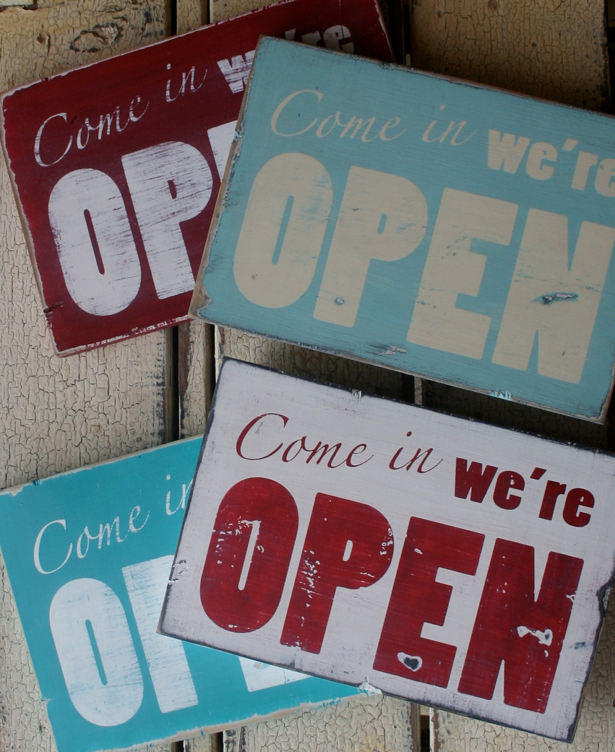 Distressed Open Sign Pick Your Color
