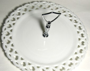 Milk Glass Cake Plate by Westmoreland Glass