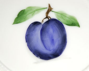 Fenton Milk Glass Plate - Hand Painted Plum 1950s
