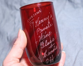 Vintage Ruby Red Anchor Hocking Glass Tumbler - 1949 Etched
