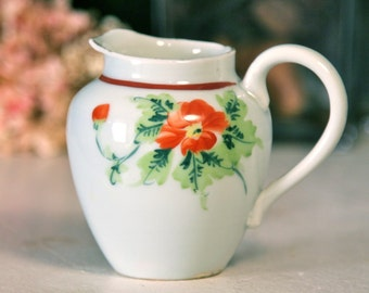 Nippon Porcelain Hand Painted Floral Pitcher