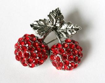 Cherry Rhinestone Brooch - A Vintage Delight