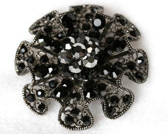 Black Rhinestone Brooch - Vintage Lacy Design