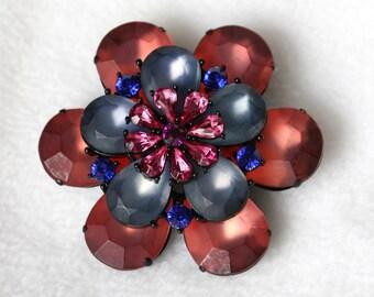 Rhinestone Pin - Chunky Pink and Blue